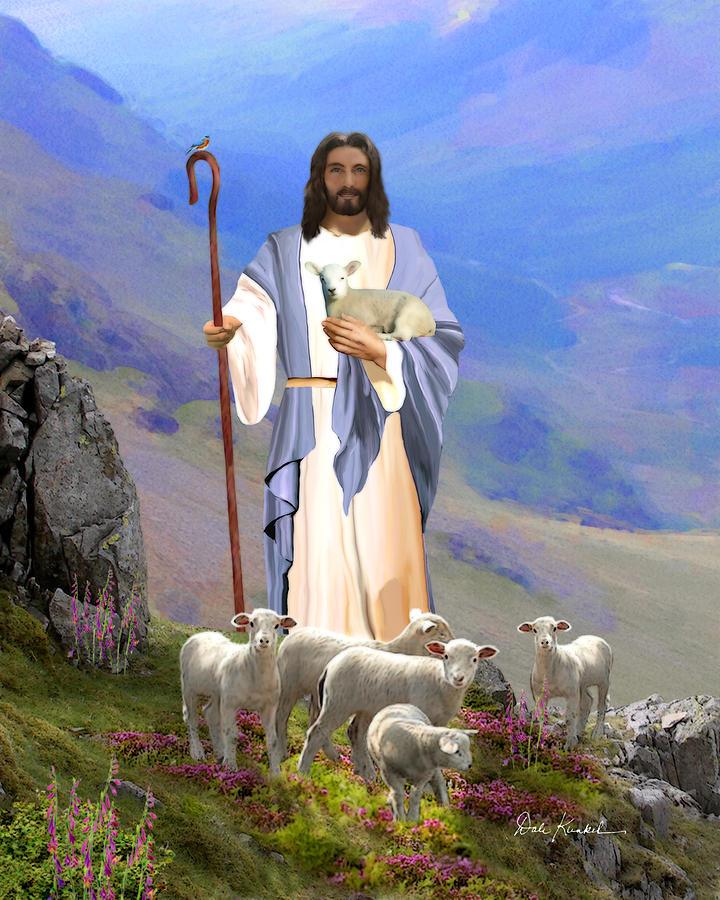 Religious art of jesus paintings psalm 23 lord my shepherd painting