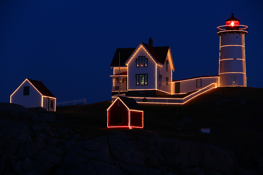 Christmas At Nubble Photograph