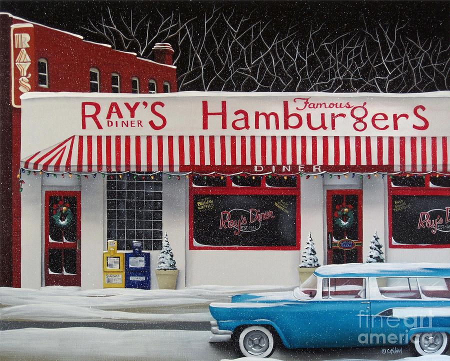 Christmas At Rays Diner Painting