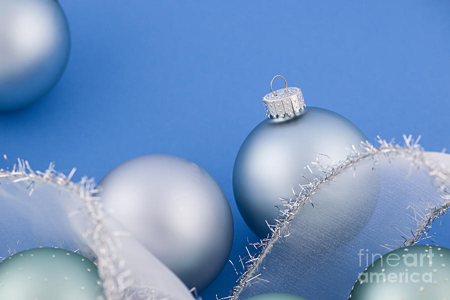 Christmas Baubles On Blue Photograph  - Christmas Baubles On Blue Fine Art Print