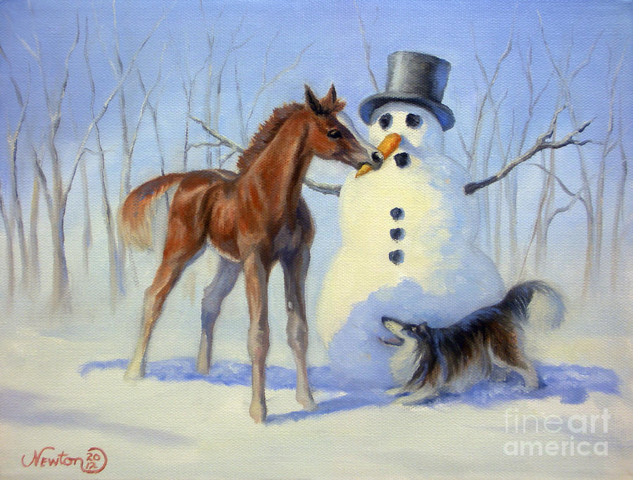 Horse Painting - Christmas Bounty by Jeanne Newton Schoborg