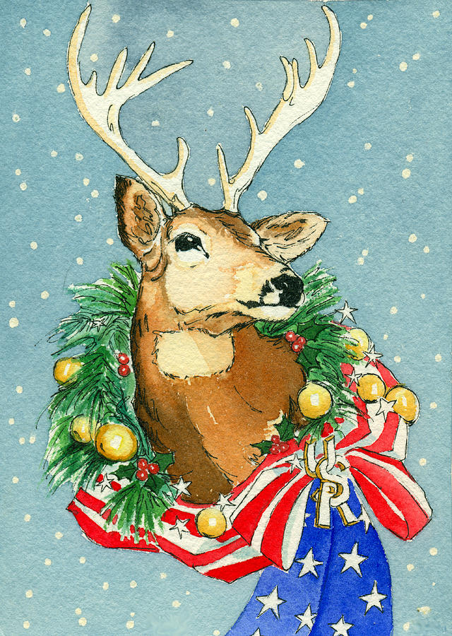 Christmas Buck Painting  - Christmas Buck Fine Art Print