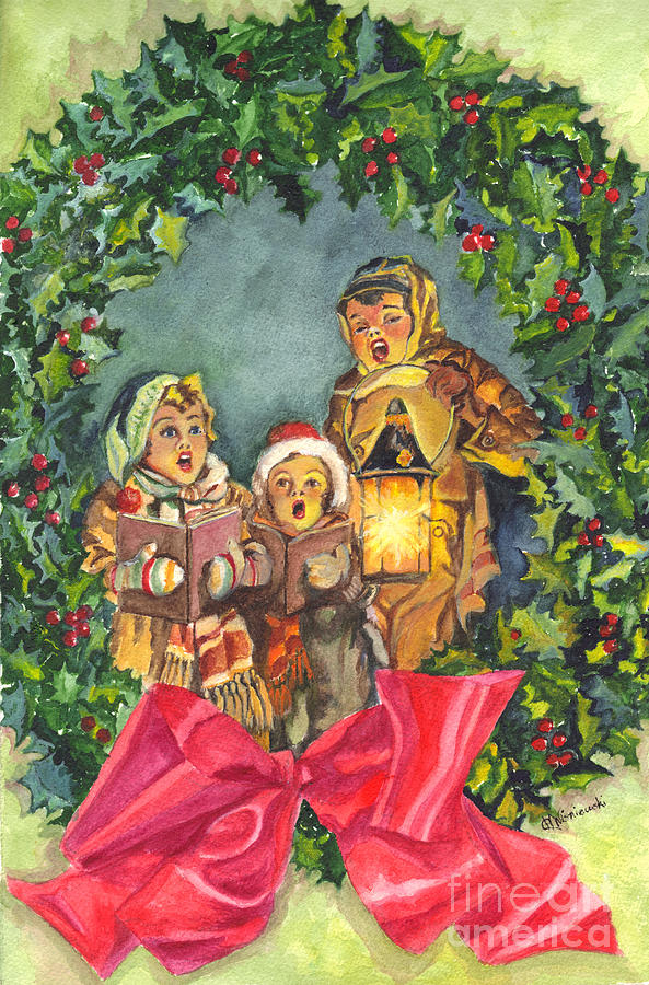 Christmas Carolers Painting  - Christmas Carolers Fine Art Print