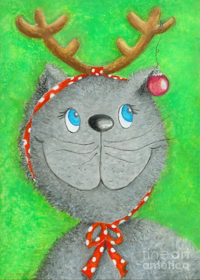 Christmas Cat Painting  - Christmas Cat Fine Art Print