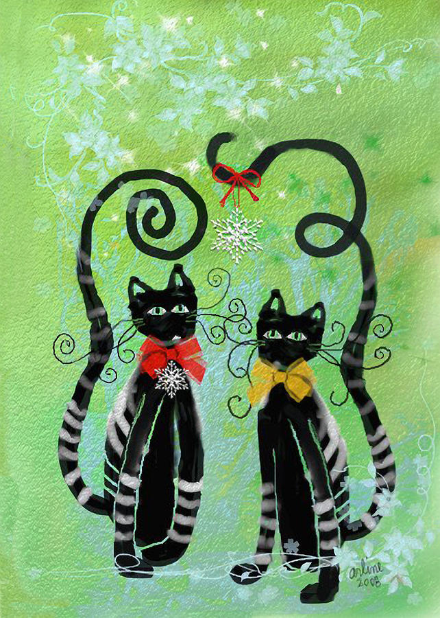 Christmas Cats Digital Art  - Christmas Cats Fine Art Print