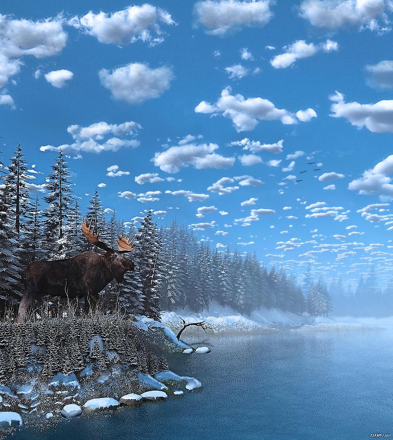 Christmas At The Lake: Christmas Day At Moose Lake Digital Art By Ken Morris