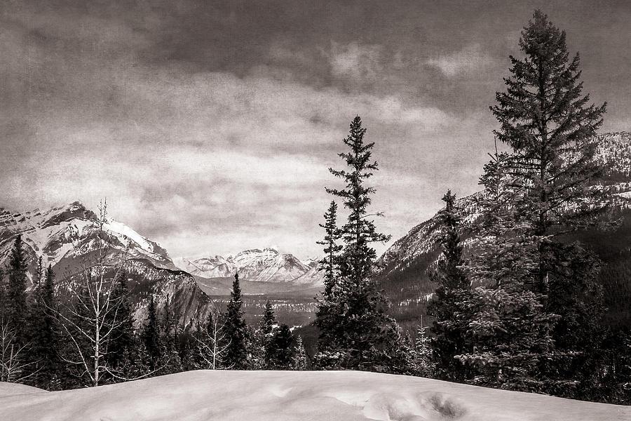 Christmas Day In Banff Bw Digital Art
