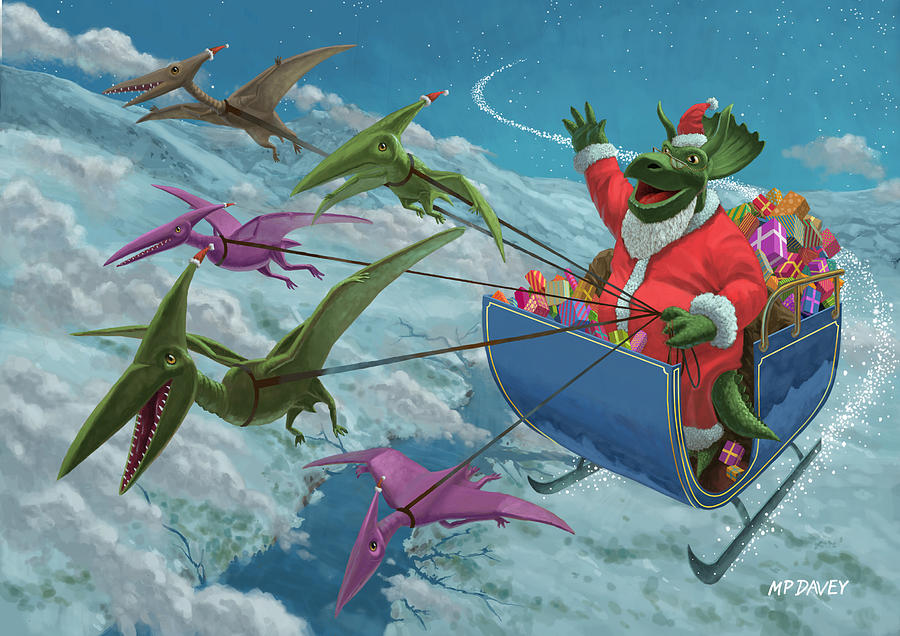 Christmas Dinosaur Santa Ride Painting