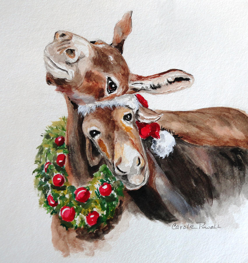 Christmas Donkeys Painting  - Christmas Donkeys Fine Art Print