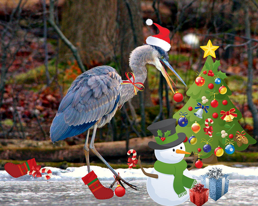 Christmas Heron Digital Art