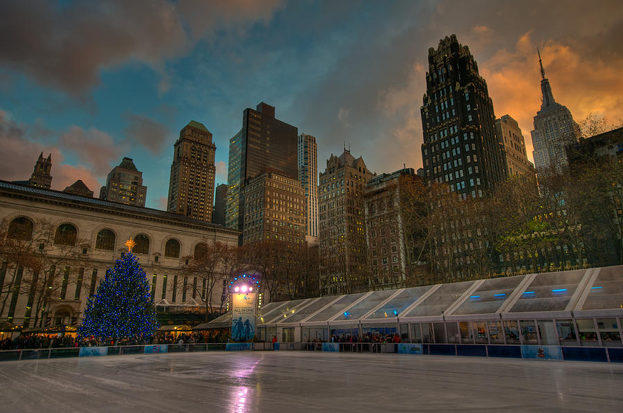 Christmas In Bryant Park Photograph  - Christmas In Bryant Park Fine Art Print