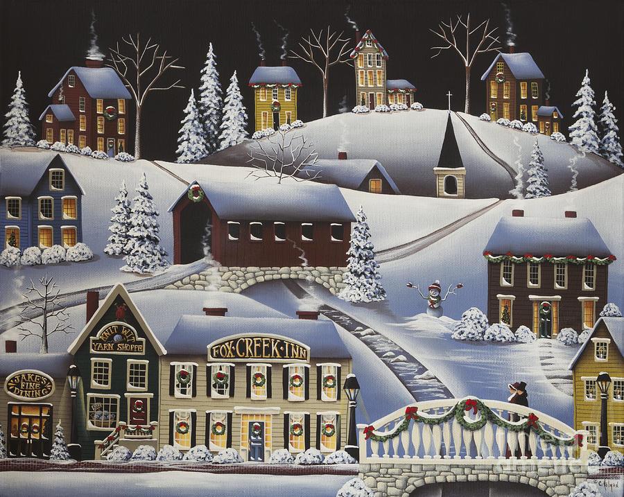 Christmas In Fox Creek Village Painting