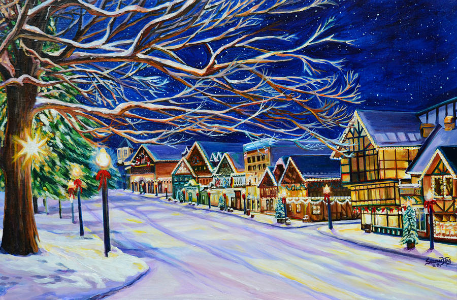Christmas In Leavenworth Painting  - Christmas In Leavenworth Fine Art Print
