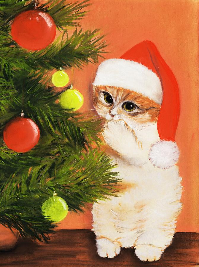 Christmas Kitty Painting  - Christmas Kitty Fine Art Print