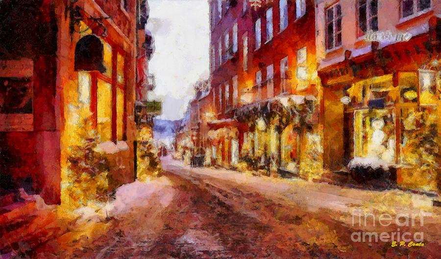 Christmas Lane Painting  - Christmas Lane Fine Art Print