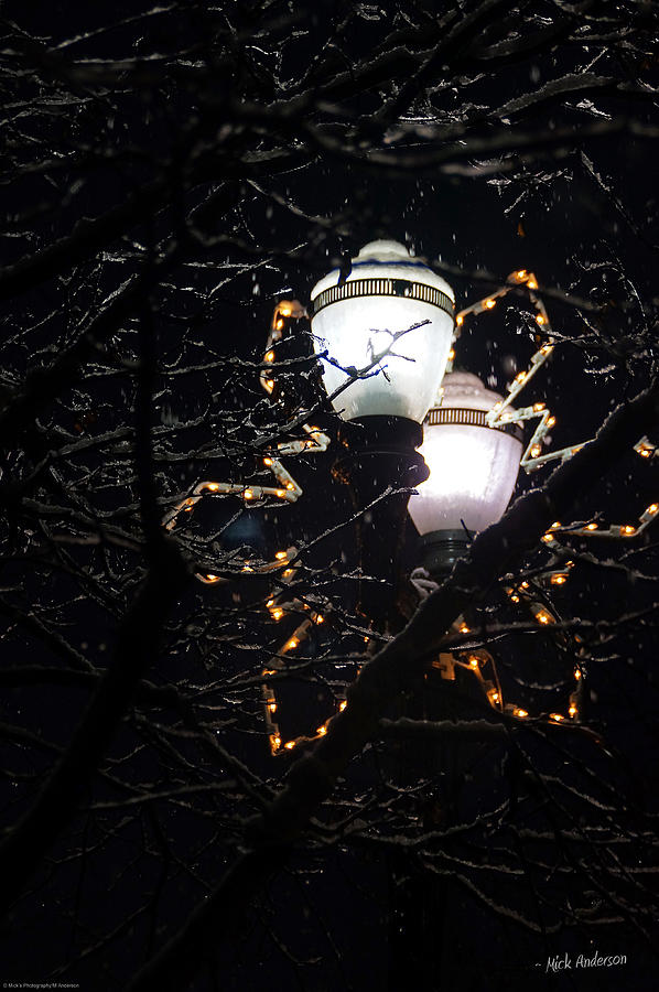 Christmas Light Post - Grants Pass Photograph  - Christmas Light Post - Grants Pass Fine Art Print