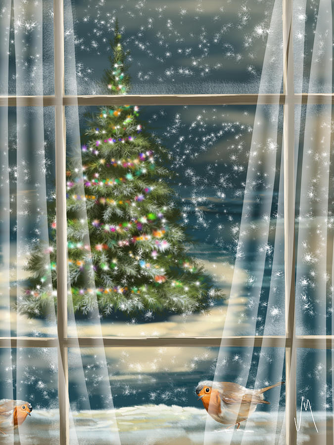 Christmas Night Painting  - Christmas Night Fine Art Print