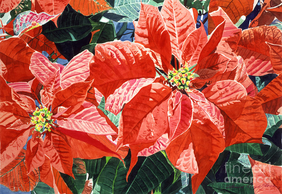Christmas Painting - Christmas Poinsettia Magic by David Lloyd Glover