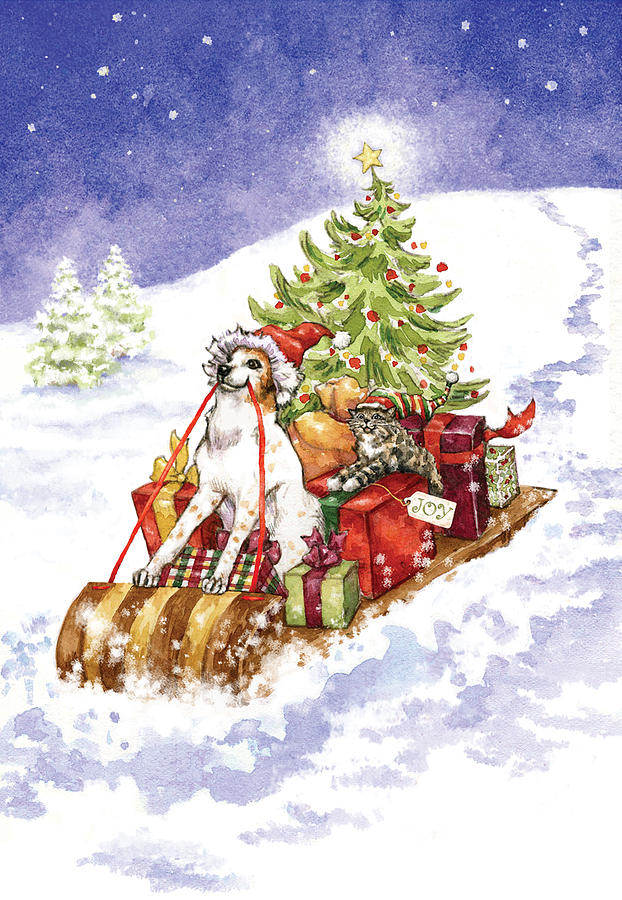 Christmas Sleigh Ride Dog And Cat Mixed Media