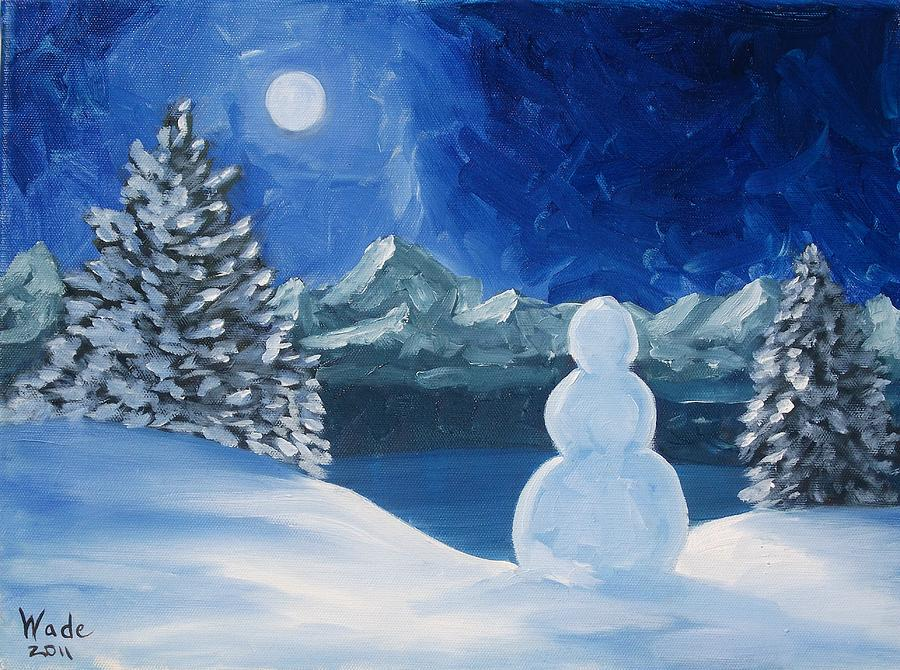 Christmas snowman painting by craig wade