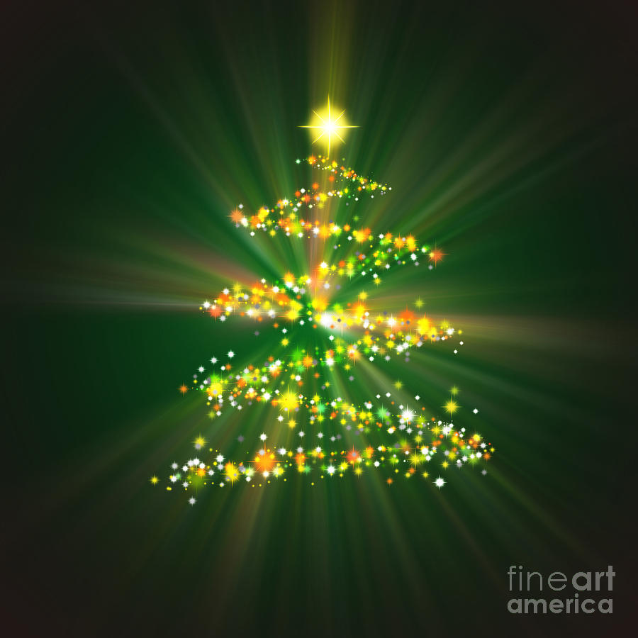 Backdrop Digital Art - Christmas Tree by Atiketta Sangasaeng