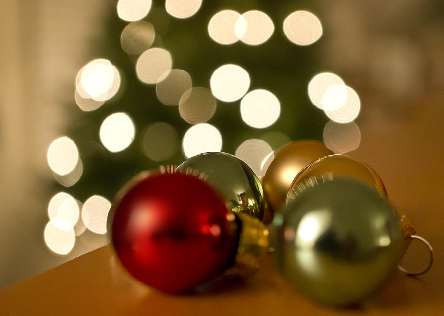 Christmas Tree Bokeh And Ornaments Photograph