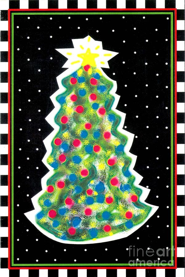 Christmas Tree Polkadots Painting  - Christmas Tree Polkadots Fine Art Print