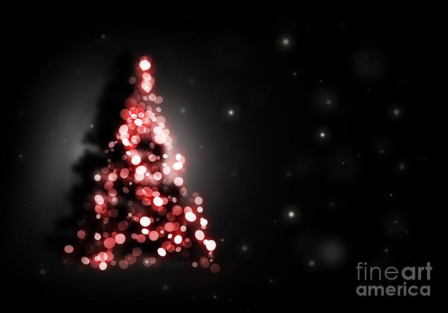 Curtains Ideas black shower curtain : ... Art - Christmas Tree Shining On Black Background by Michal Bednarek