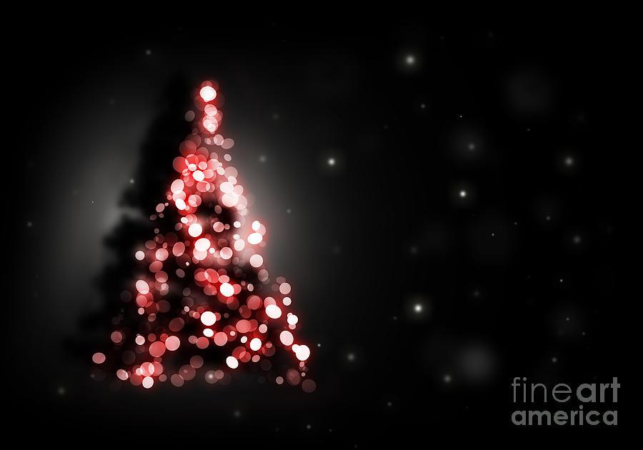 Christmas Tree Shining On Black Background Digital Art By