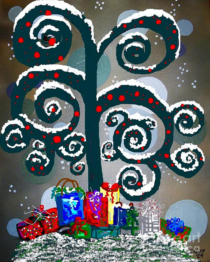 Christmas Painting - Christmas Tree Swirls And Curls by Eloise Schneider