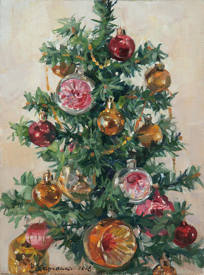 Christmas tree painting by victoria kharchenko
