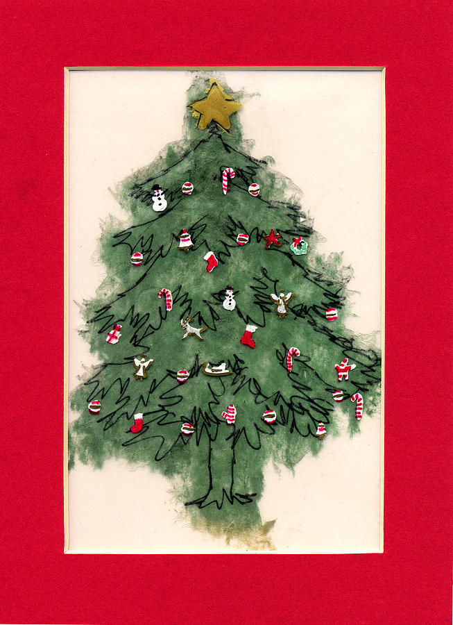 Christmas Paintings Painting - Christmas Tree With Red Mat by Mary Helmreich