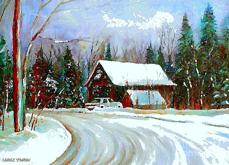 Christmas Trees Cozy Country Cabin Painting Winter Scene