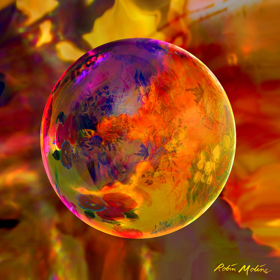 Chromatic Floral Sphere Digital Art  - Chromatic Floral Sphere Fine Art Print