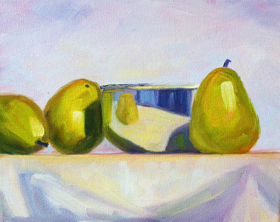 Pear Painting - Chrome And Pears by Nancy Merkle