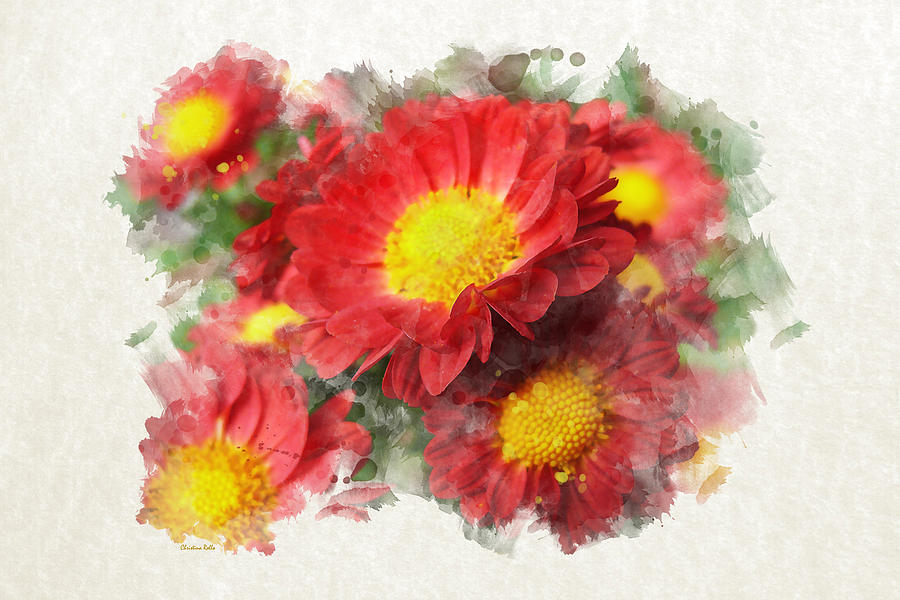 Chrysanthemum Watercolor Art Painting by Christina Rollo