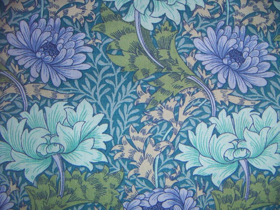 Chrysanthemums In Blue Tapestry - Textile
