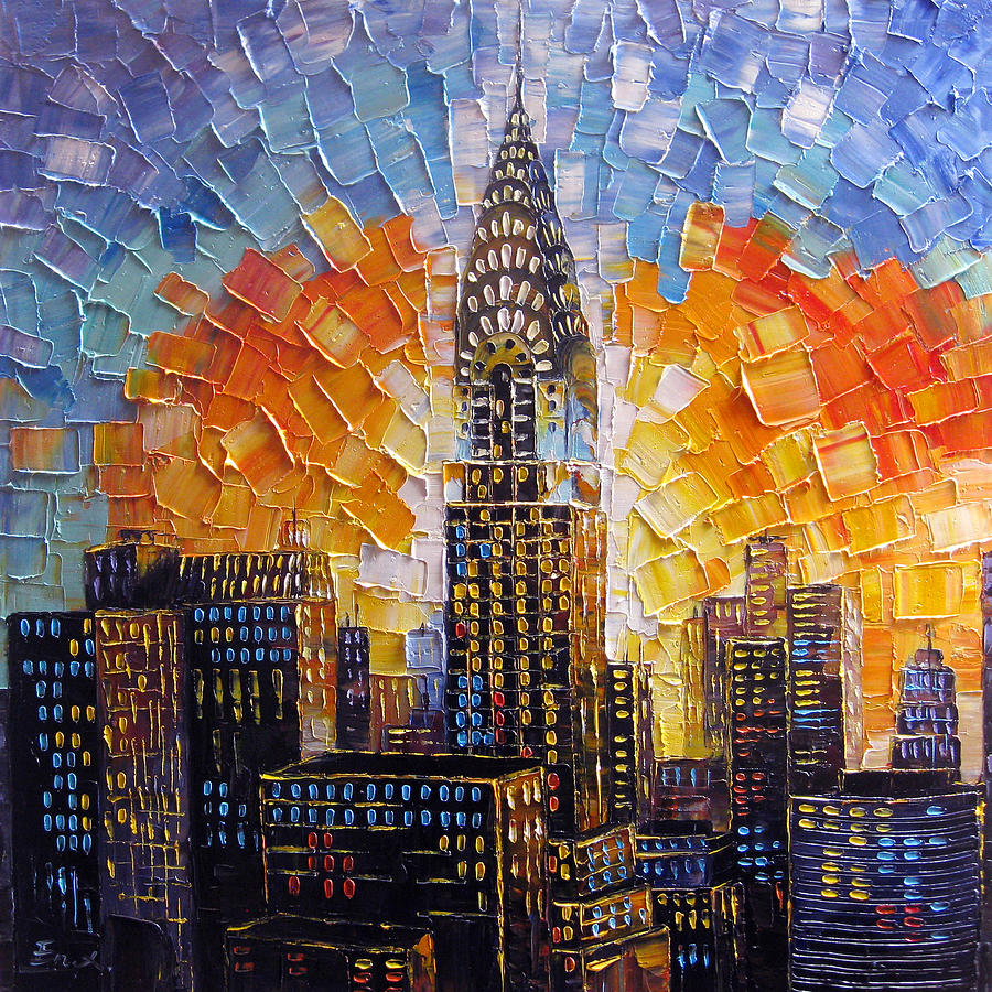 Chrysler building new york city painting by enxu zhou for Mural on building