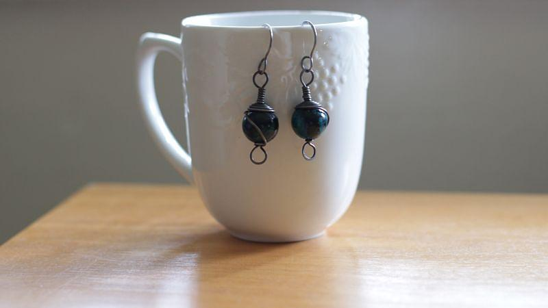 Jewelry Jewelry - Chrysocolla And Annealed Steel Earrings by Tracy Partridge-Johnson