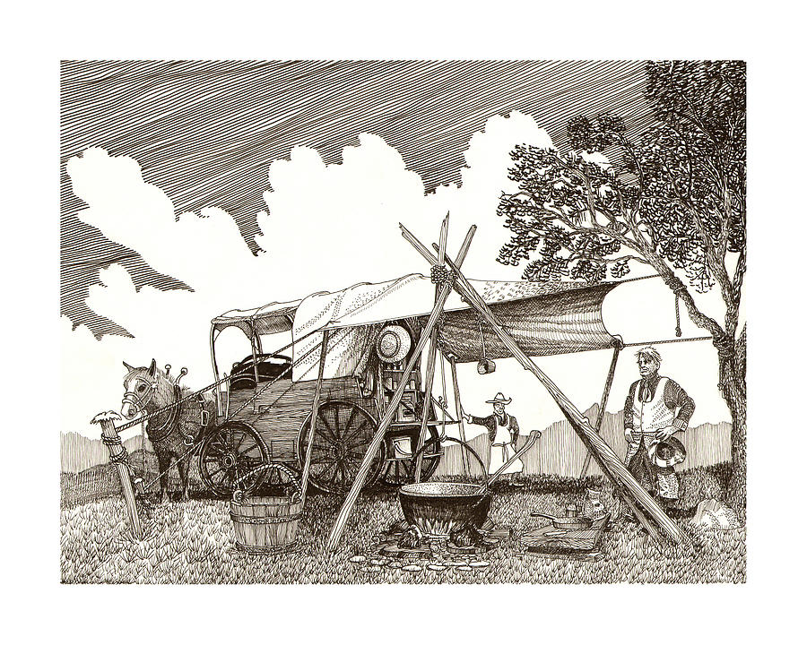 Chuckwagon Cattle Drive Breakfast Drawing