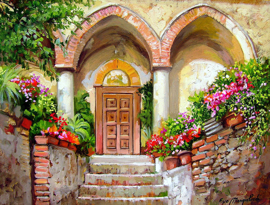 Church Courtyard South Of Italy Painting By Francesco