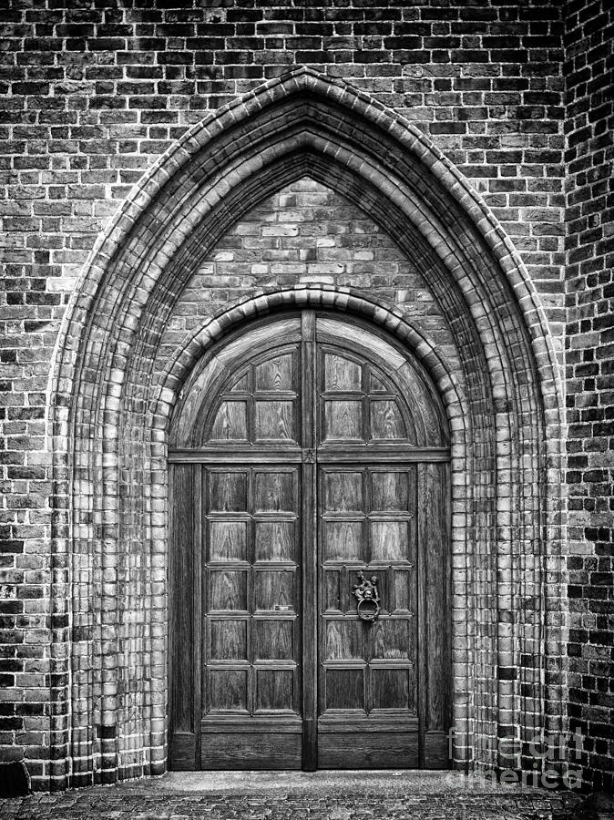 Church Door Monochromatic Photograph