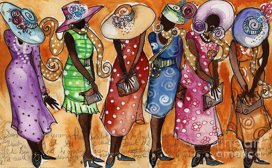 Church Lady Church Hats Painting  - Church Lady Church Hats Fine Art Print