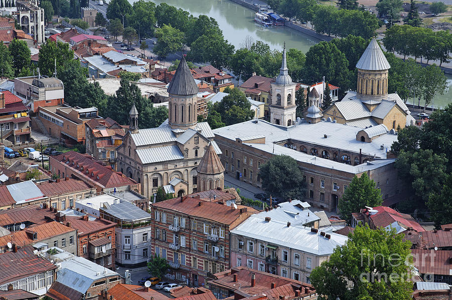 Churches By The Mtkvari River In Tbilisi Photograph