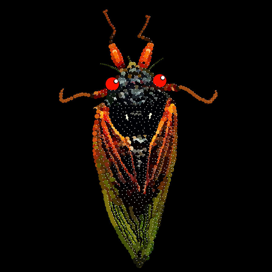 Cicada In Black Digital Art  - Cicada In Black Fine Art Print