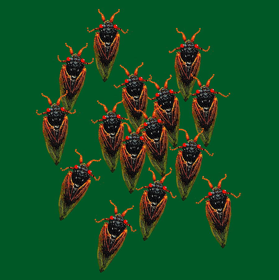 Cicadas In Green Digital Art