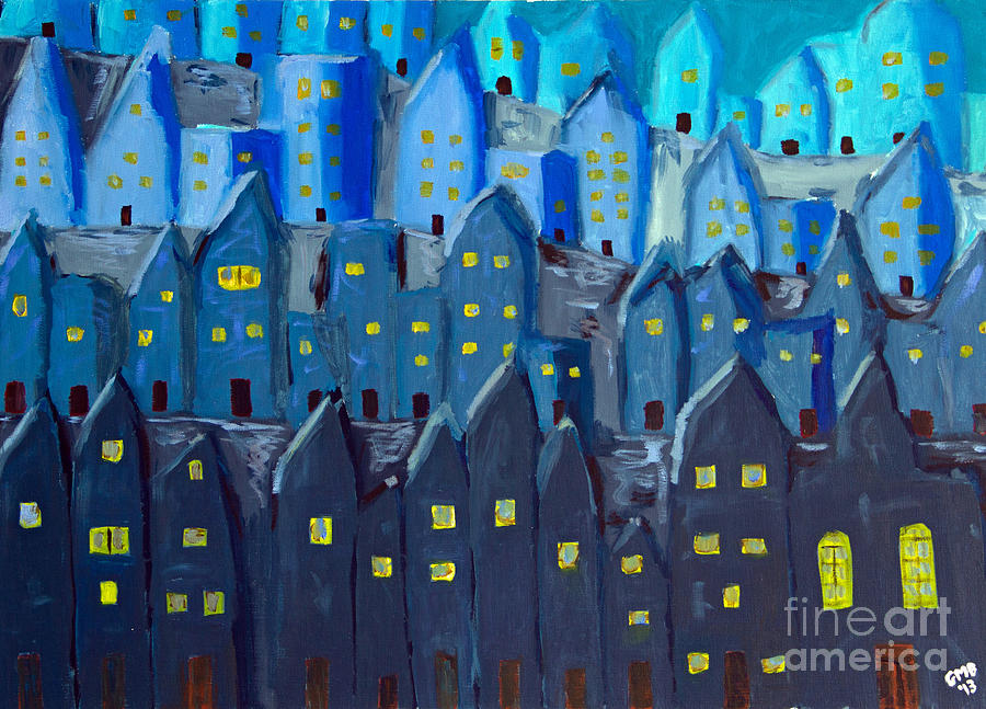 Paintings Painting - Cidade A Noite by Greg Mason Burns