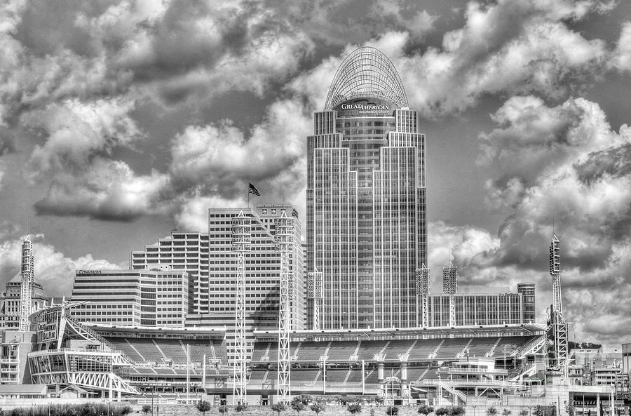 Cincinnati Ballpark Clouds Bw Photograph