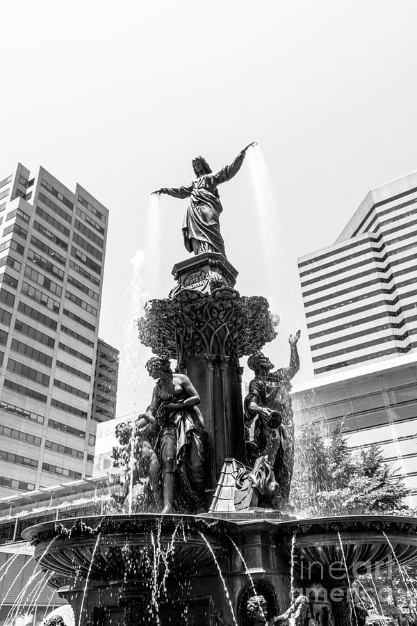 Cincinnati Fountain Black And White Picture Photograph