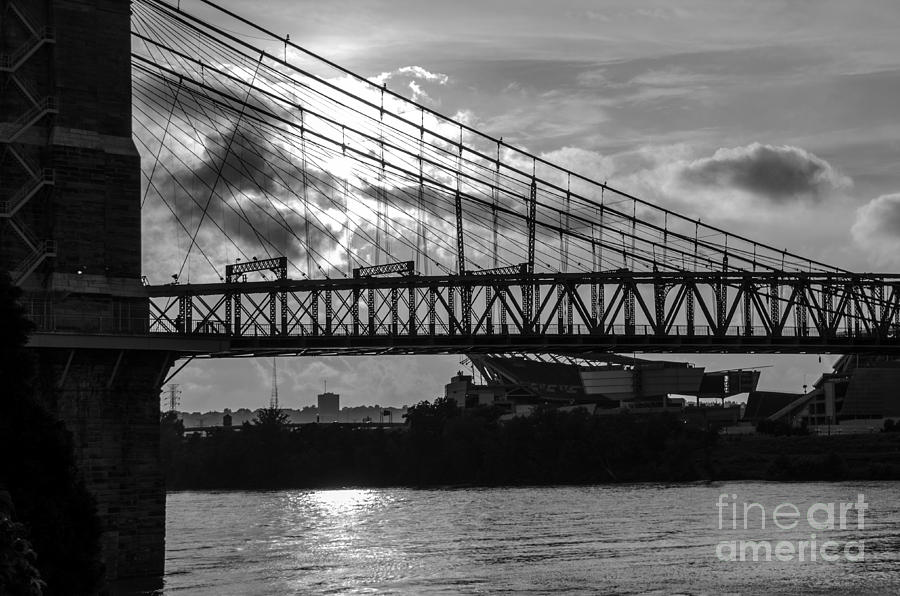 Cincinnati Suspension Bridge Black And White Photograph